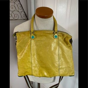 Lime/Yellow leather adjustable snap detail bag